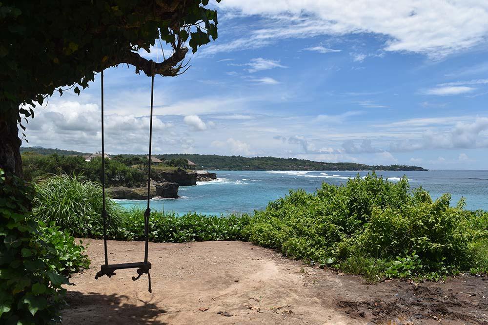 A swing overlooking Dream Beach.