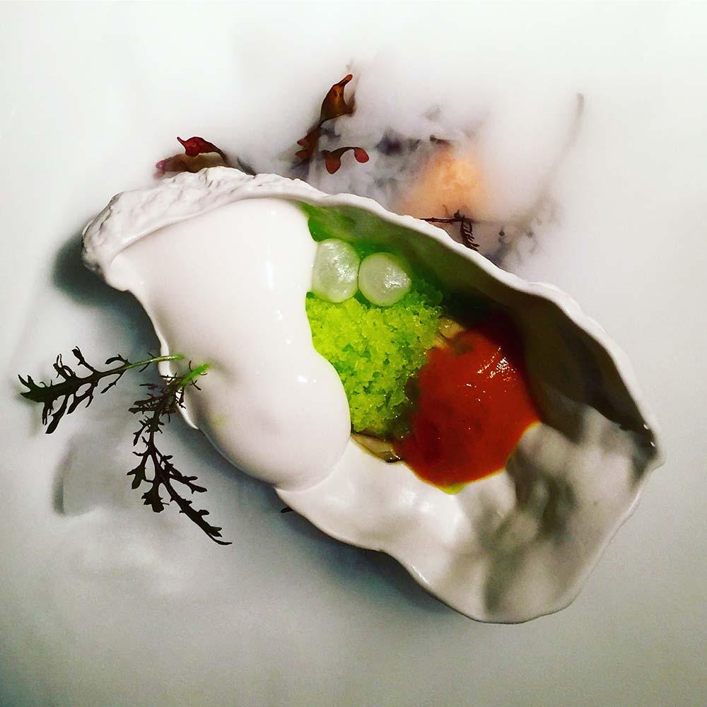 Molecualr gastronomy at Martín Berasategu in San Sebastián. This 'oyster' was served over dry ice.
