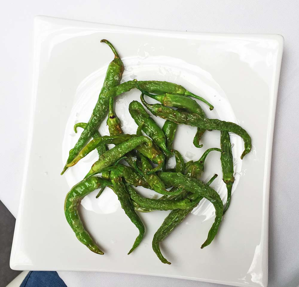 Fried peppers served simply with sea salt at Zelai Txiki.