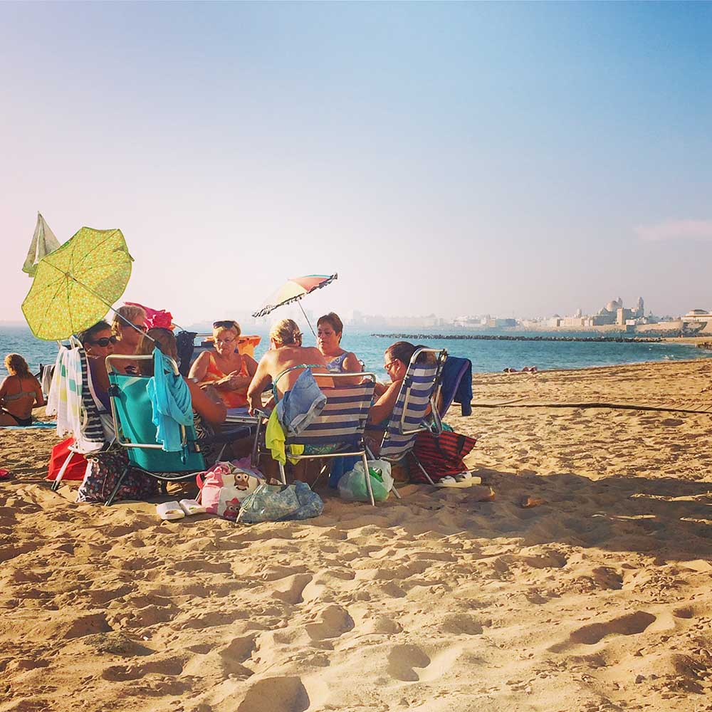 This gaggle of ladies on the beach in Cadiz made my heart sing. They were playing cards and having a blast!