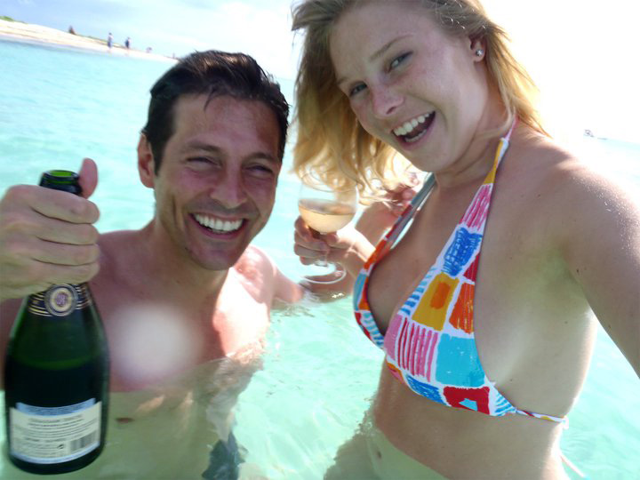 Celebrating our anniversary season with Champagne in the sea in Mauritius (2011).