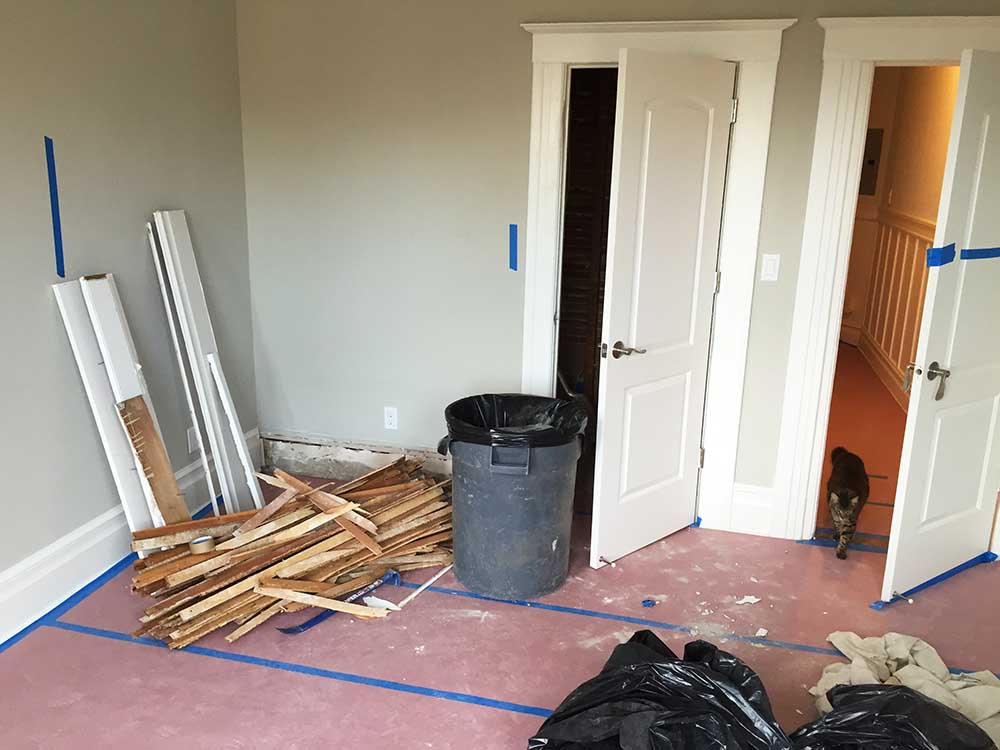 This bedroom will become our master bathroom, with the shower being installed on the left side of the middle door. The door on the right will be removed and replaced with a frosted window.