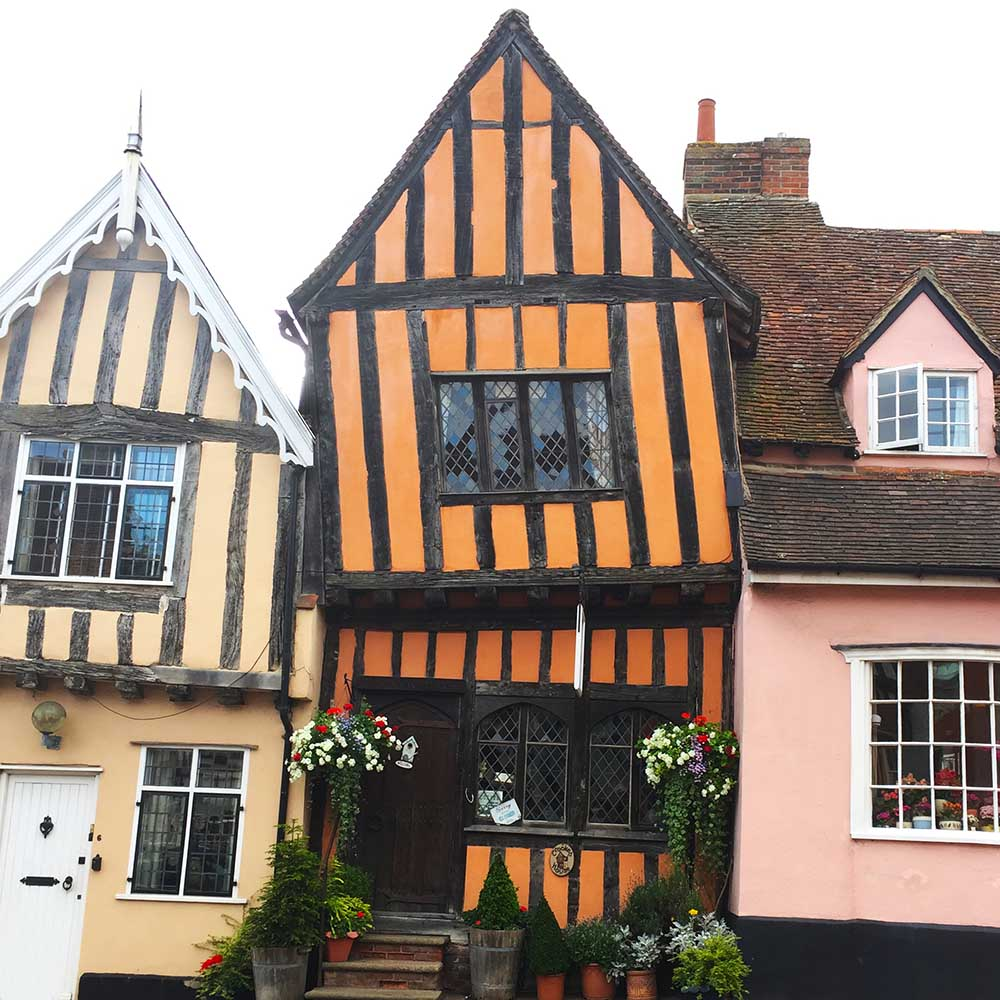 July 2016: Lavenham,  England .  We had a wonderful time exploring Suffolk, including discovering these unbelievably crooked medieval houses which were used in some of the Harry Potter films!