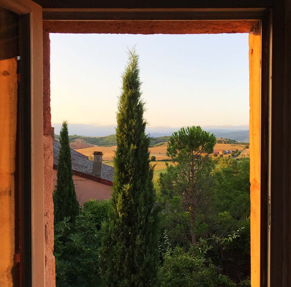 The most beautiful view out of our bedroom window in Montlaur.