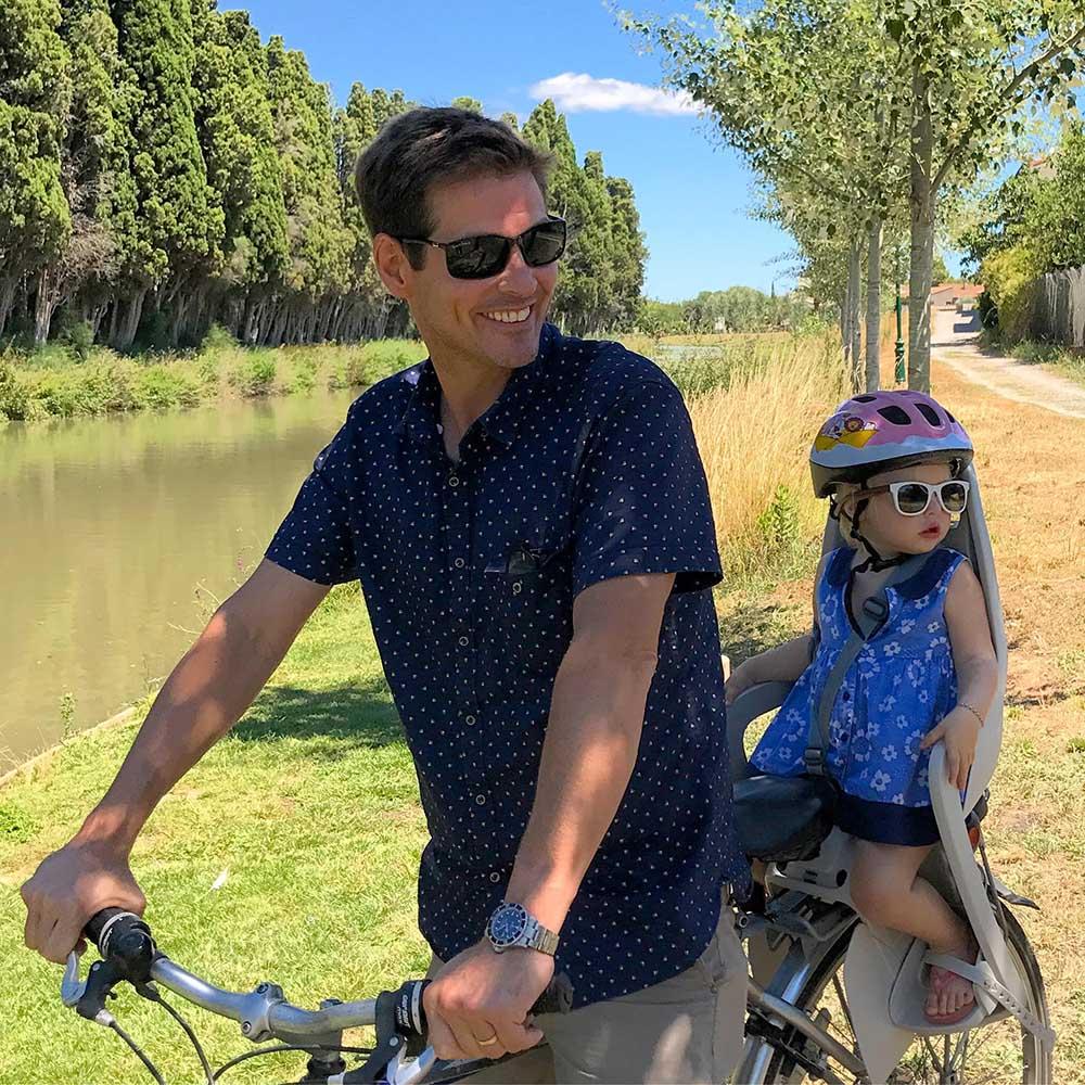 Cycling along the Canal du Midi.