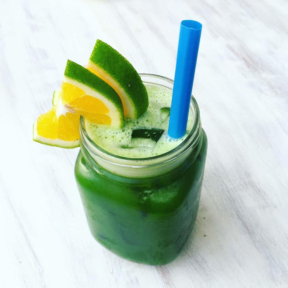 Green juice at Cafe Organic.