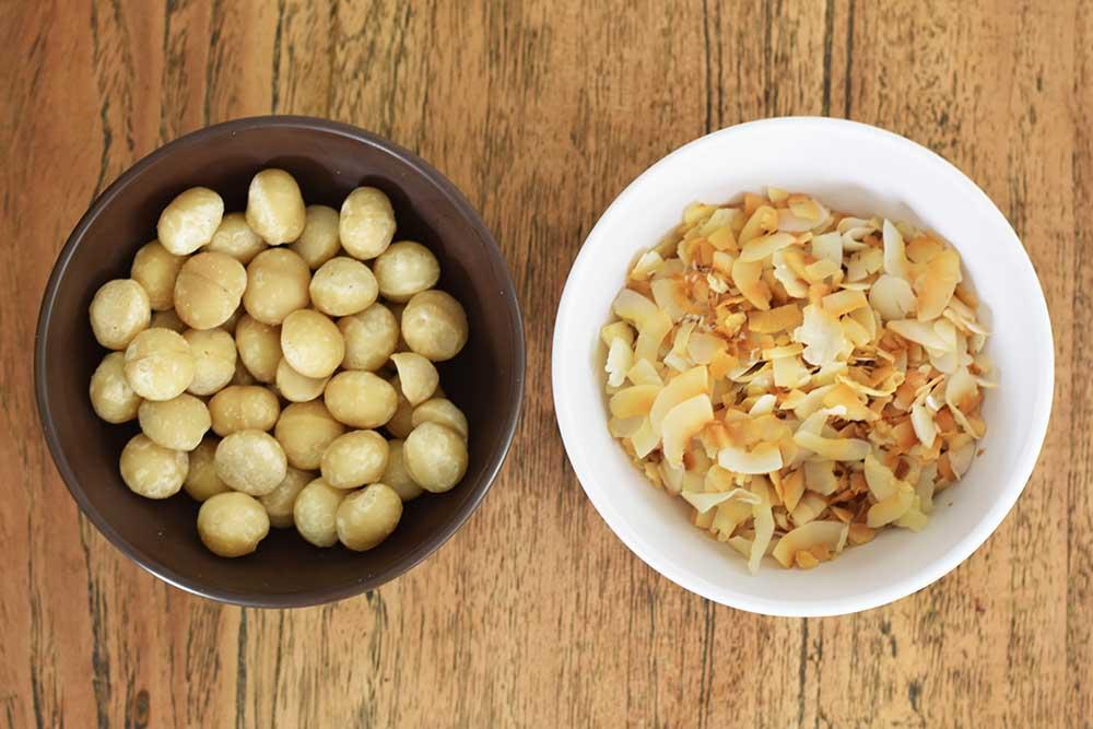 Macadamia nuts and toasted shredded coconut.