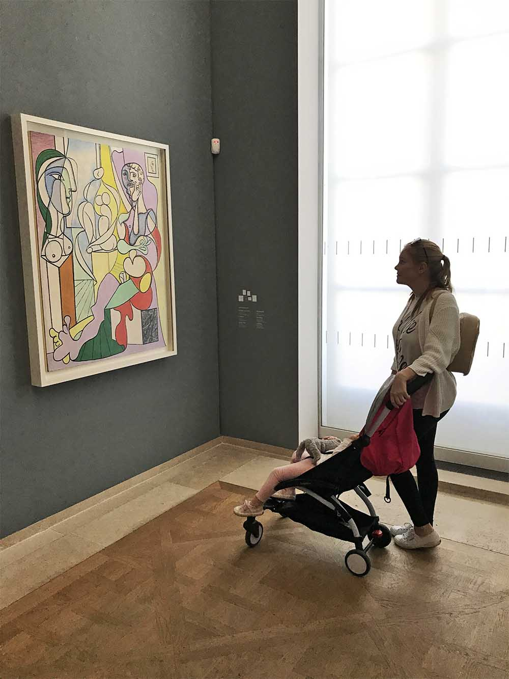 Inside the Musée Picasso. I was pleasantly surprised that the stroller was allowed in!