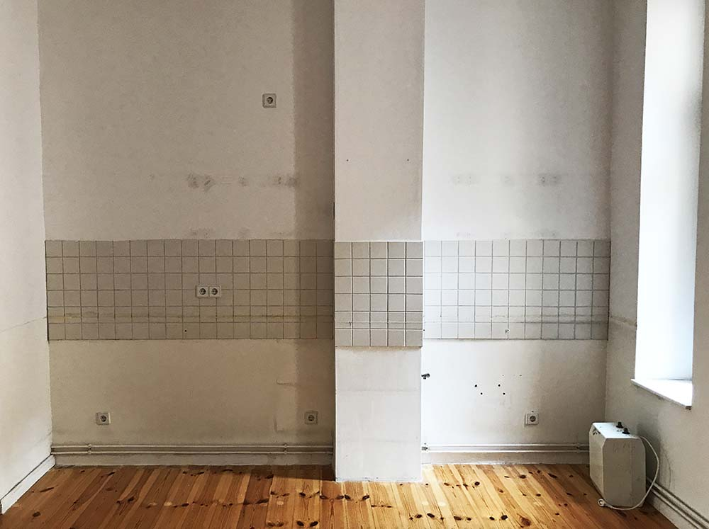 """This is another apartment we visited as a comparison. I was shocked to learn that this is considered a """"kitchen"""" in a Berlin rental (and this apartment was not cheap).Apparently it's commonplace for renters in Berlin to bring their own kitchen when they move into an apartment. BYO kitchen?!"""