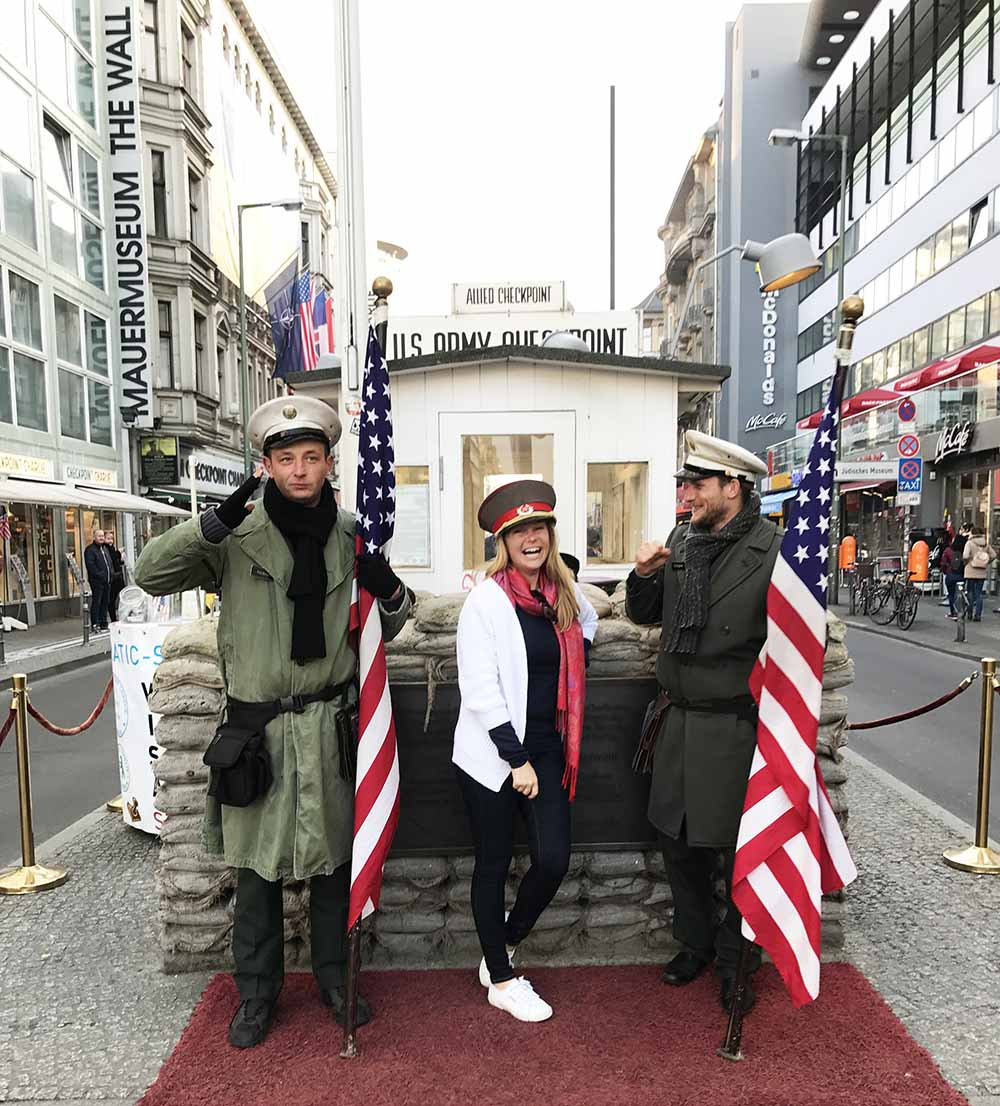 """It's hard to imagine the tension that pervaded this city when Checkpoint Charlie represented a standoff between nuclear armed superpowers, and separated East and West Berlin.Thankfully the dark days of the cold war are behind us, and this historic crossing point is now a tourist attraction. The """"soldiers"""" here today are cracking jokes with visitors like me, but it's also a reminder of a dreadful period in history that we should learn from and take care to remember."""