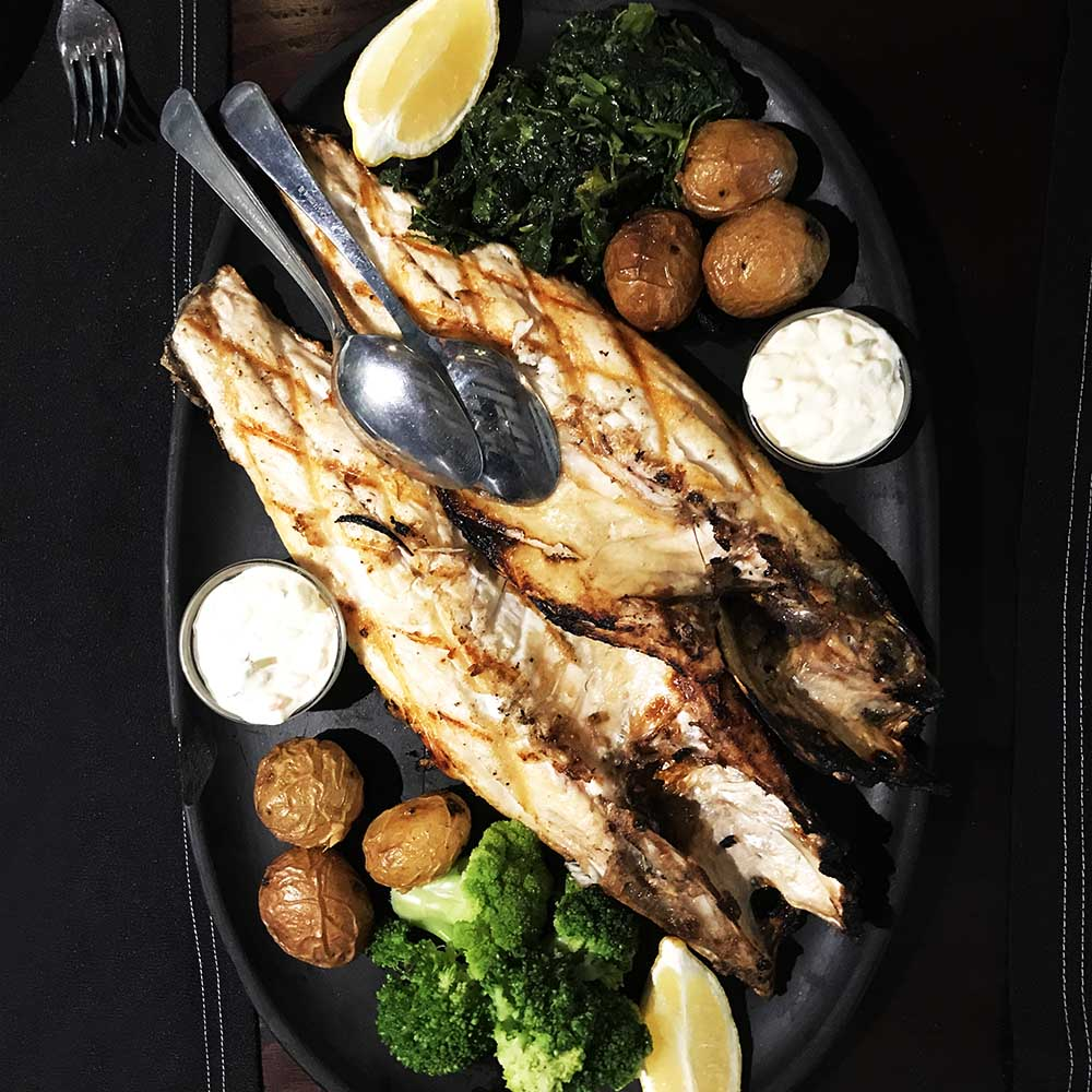 The grilled fish in Lisbon is superb. This whole sea bass was for two :-)