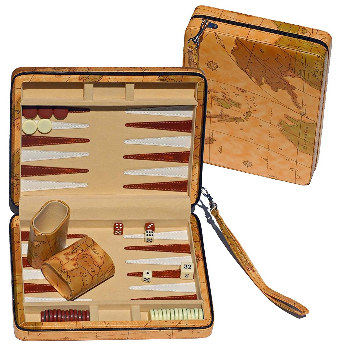 Our much loved  travel backgammon board  - which was a gift to us from dear friends. Such a good present for board game and travel loving people!