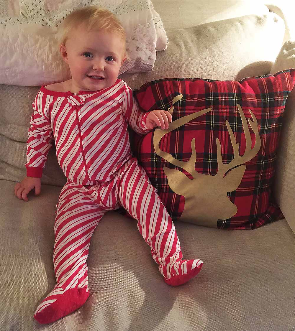 Rosie's holiday jammies from  Christmas 2016 in San Francisco!