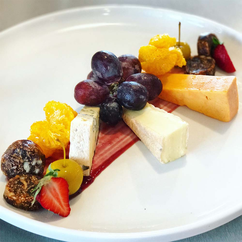 The cheese plate at Mills Reef Winery and Restaurant. The mandarin was dehydrated - a cool touch.