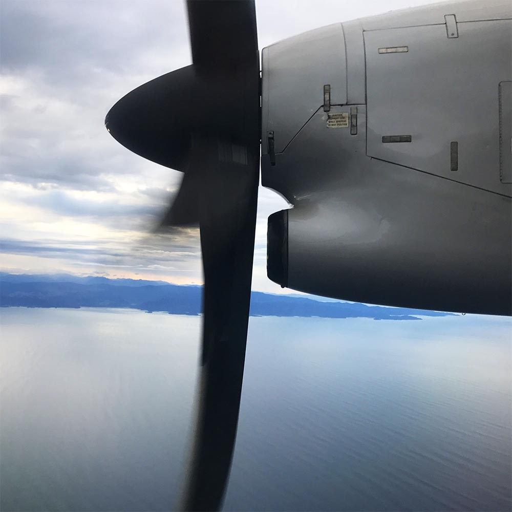 Off in the little propeller plane to Nelson.