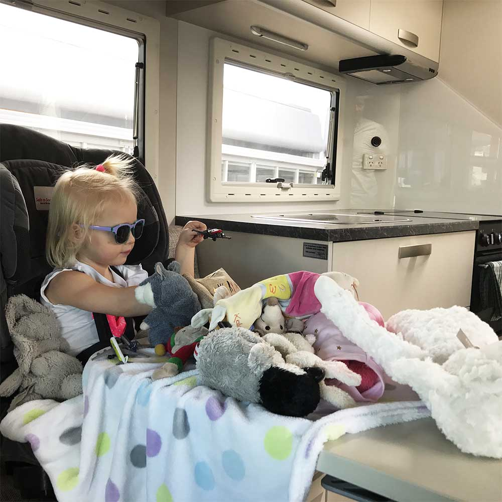 It didn't take Rosie very long to make herself right at home... And yes we did travel with all of those soft toys.