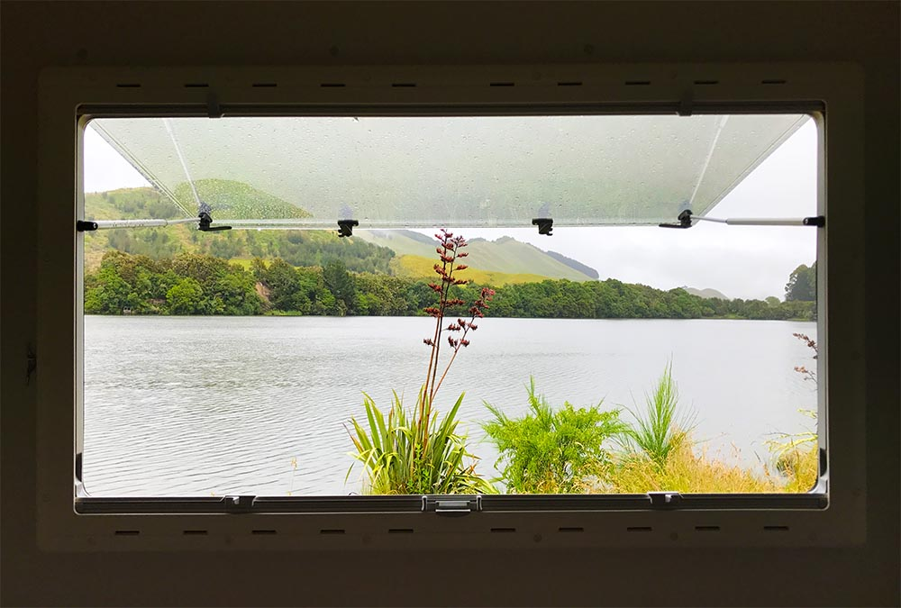 The view from our bed in the RV.