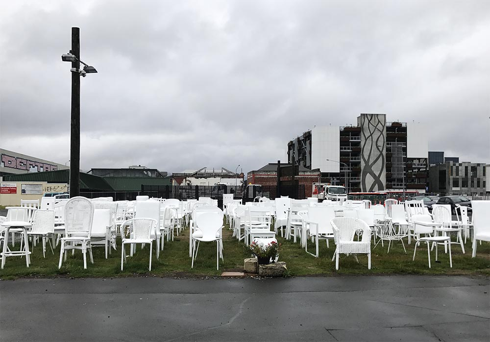 This temporary art installation of 185 empty chairs, reflects on the lives lost in the 2011 earthquake.