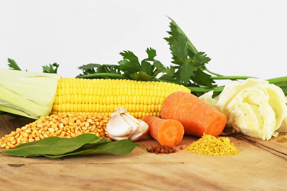 Split pea and vegetable soup ingredients. So healthy!