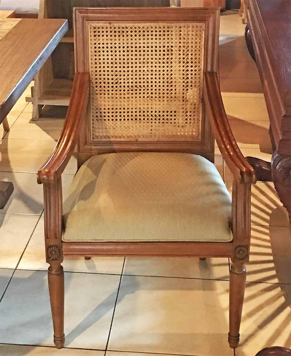 A French-style dining chair in Bali.