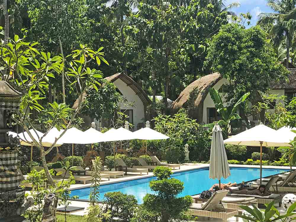 The villas at Coco Resort, positioned around their lovely swimming pool.