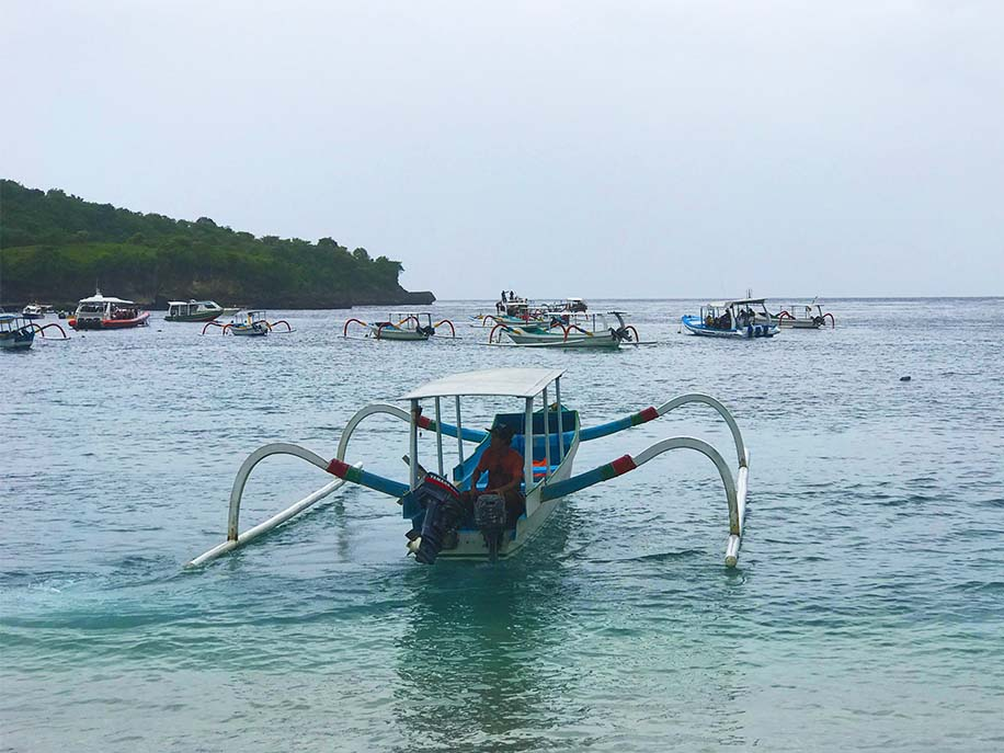 Fishing boats moored in Crystal Bay.
