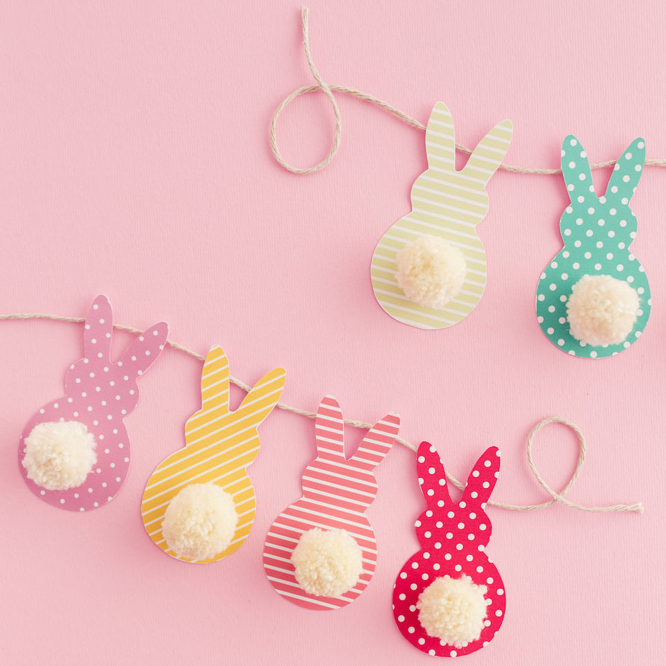The cutest bunny pom pom tail garland by  DIY Candy .