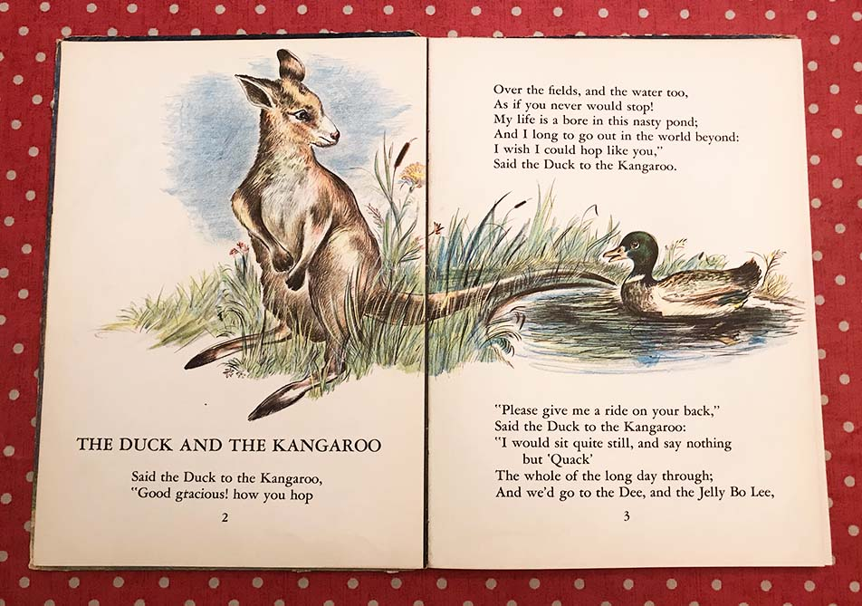 Justin's Mum has kept some sweet storybooks from his childhood. It was fun reading them to Rosie on our recent visit, especially this story featuring a kangaroo.