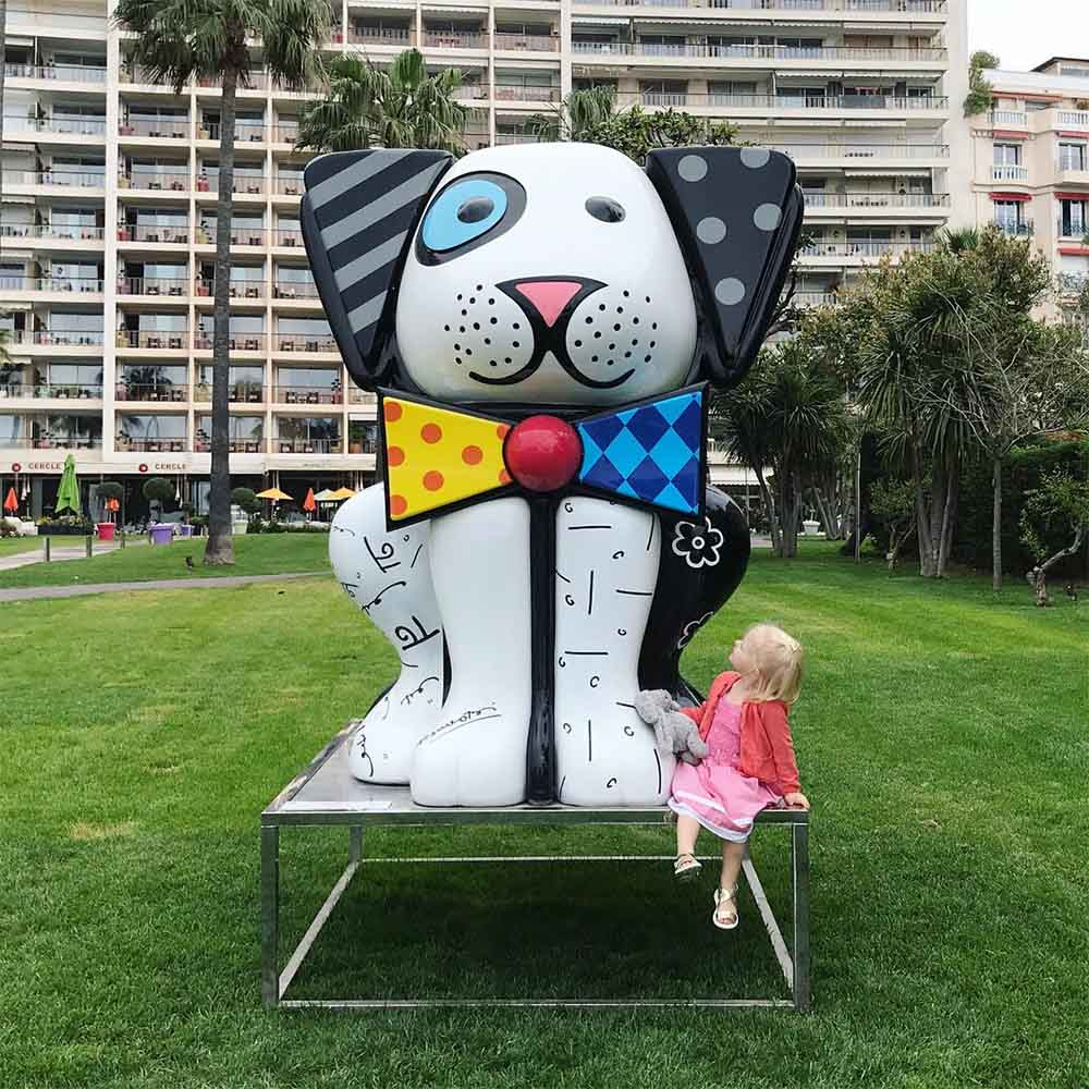 There is colorful public art all over Cannes. This piece is by the artist Romero Britto.