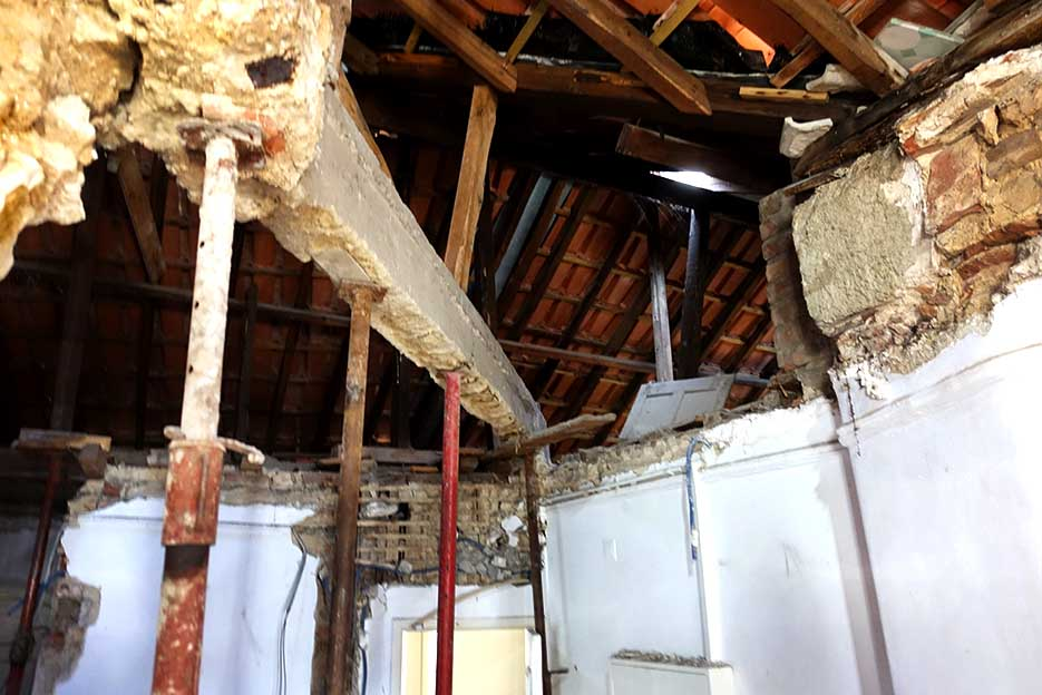 We are allowed to lift the roof over this loft space, to create a full height living space, which will nearly double the size of the apartment.