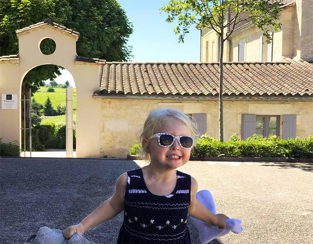 Rosie's enjoying herself in the grounds of  Chateau Saint Christophe , where we had a really interesting private tasting and tour organized by our hotel.