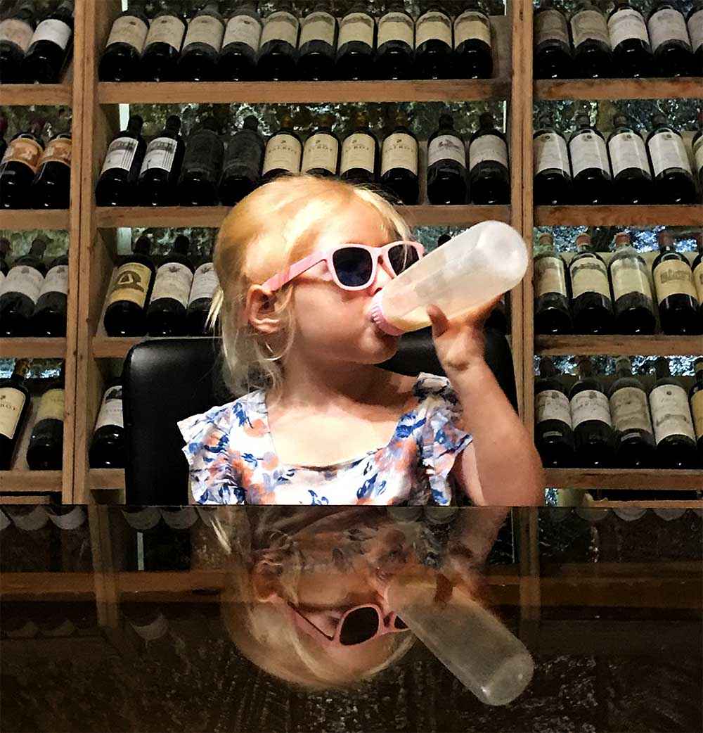 Rosie enjoyed her beverage of choice at the tasting table too.