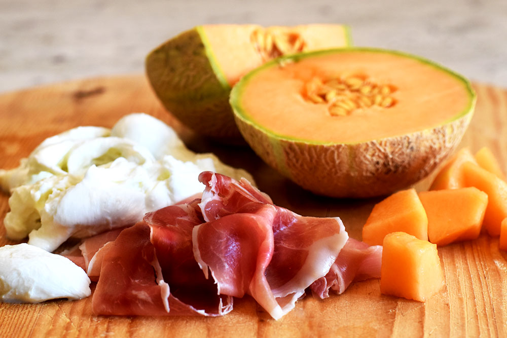 So simple, with just three ingredients; buffalo mozzarella, Serrano ham, and cantaloupe.