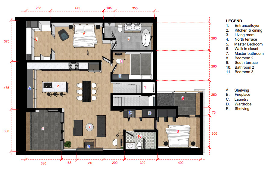The floorplan of our loft conversion in Berlin. Note: all measurements are in centimeters (as metric measurements are used in Germany).