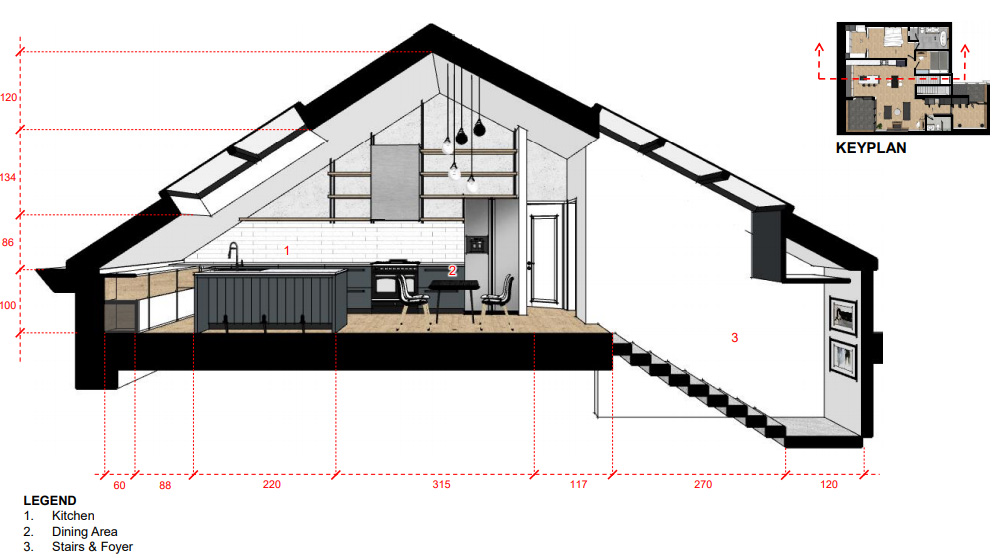 A secrtional drawing showing the stairs into the loft and the kitchen space.