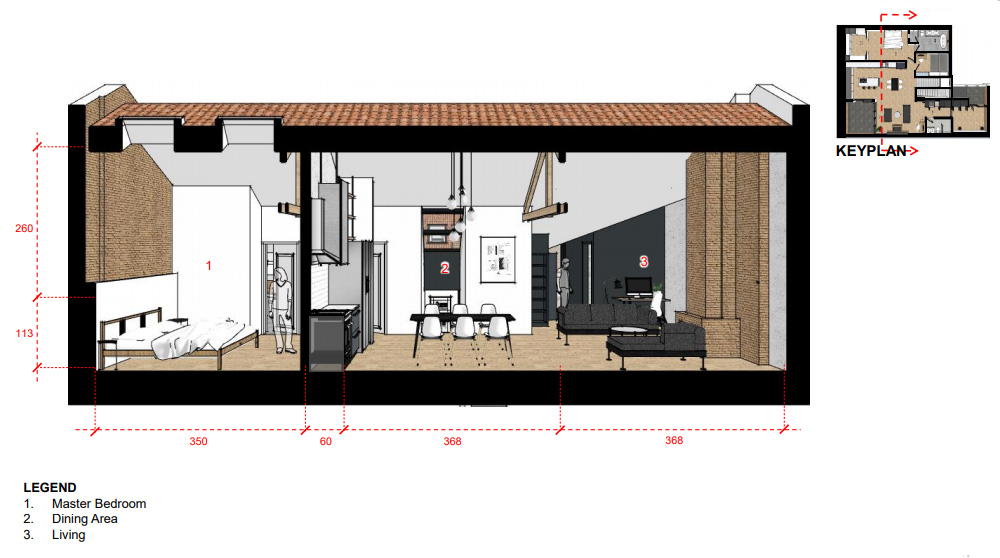 This sectional drawing shows you where the master bedroom is in relation to the living spaces.
