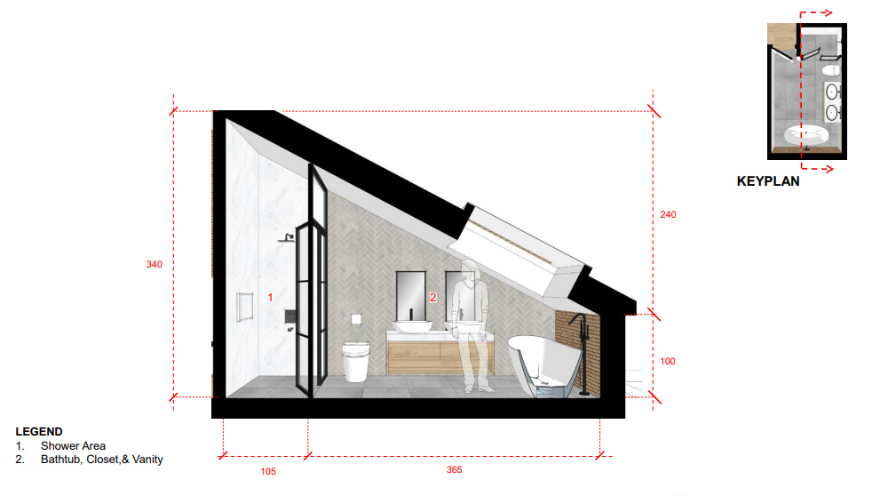 A sectional of the master bathroom. A skylight has been designed over the tub to allow create head-height.