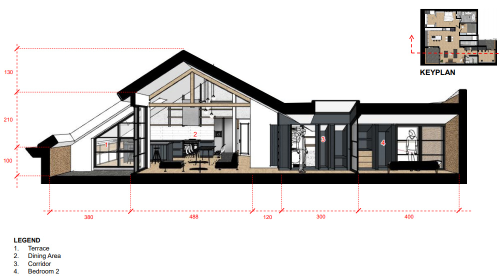 A sectional drawing showing the position of bedroom 2 in relation to the living room.