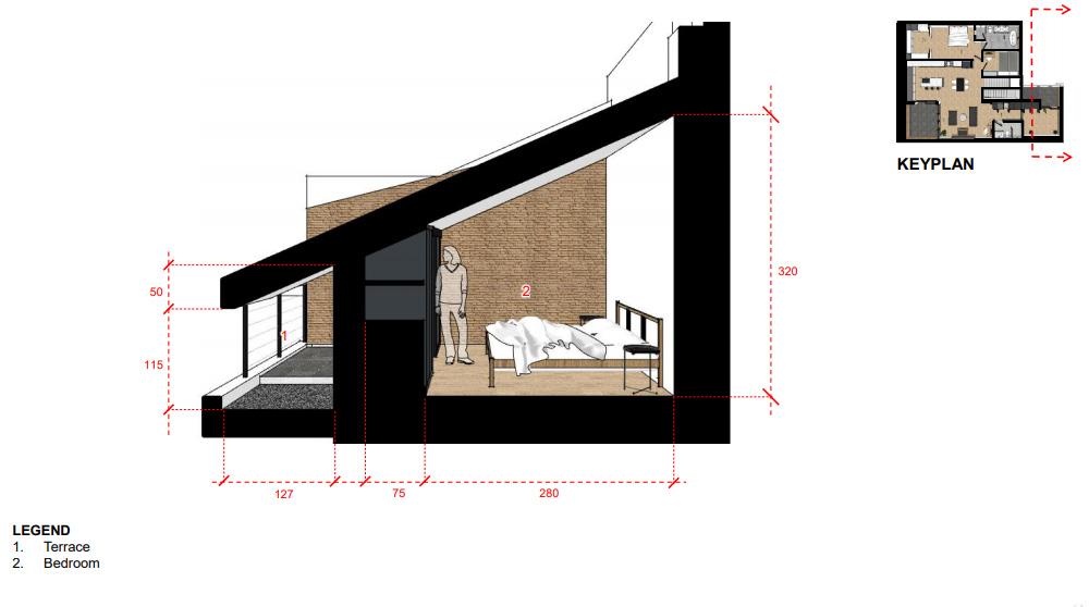 A sectional drawing of bedroom 2.