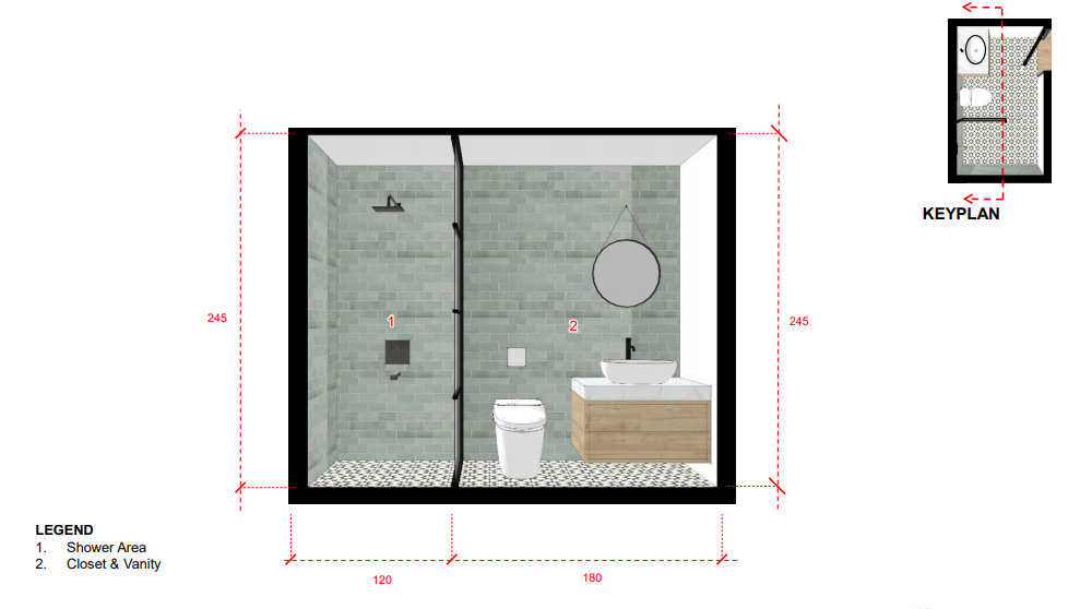 A sectional drawing of bathroom 2.