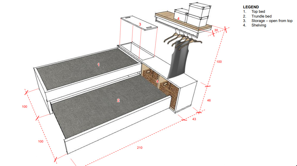 Our built-in trundle bed and storage design for bedroom 3 - bedget permitting!