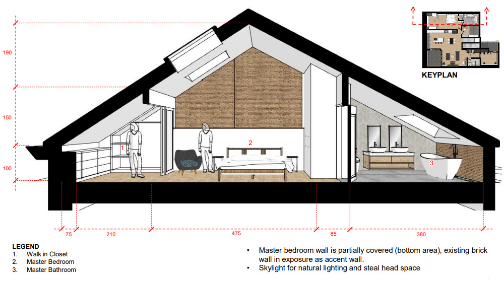 This sectional shows the the flow between the master walk-in closet, bedroom and bathroom, and illustrates the scale of the ceiling height at the roof's peak.
