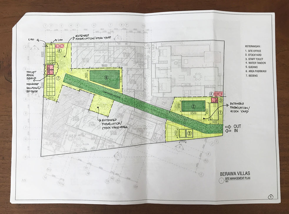 Plans for the temporary access road and stock yard on site.
