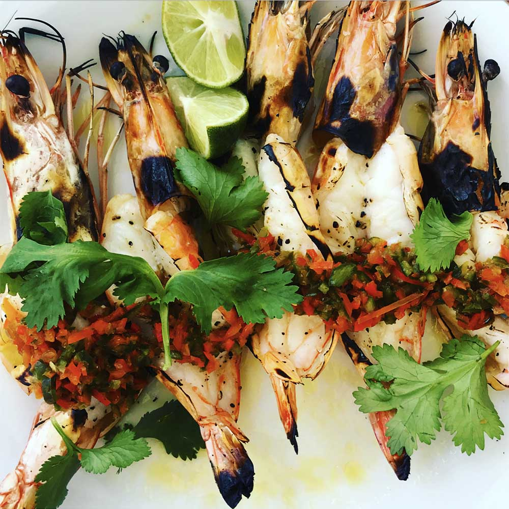Grilled king prawns at Tropicola.