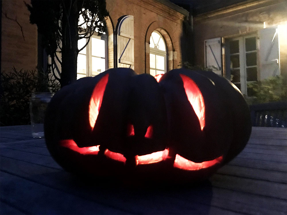 One of our spooky jack-o-lanterns.