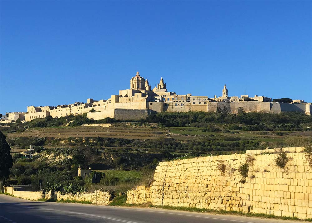 A view of the fortified city of Mdina in Malta.