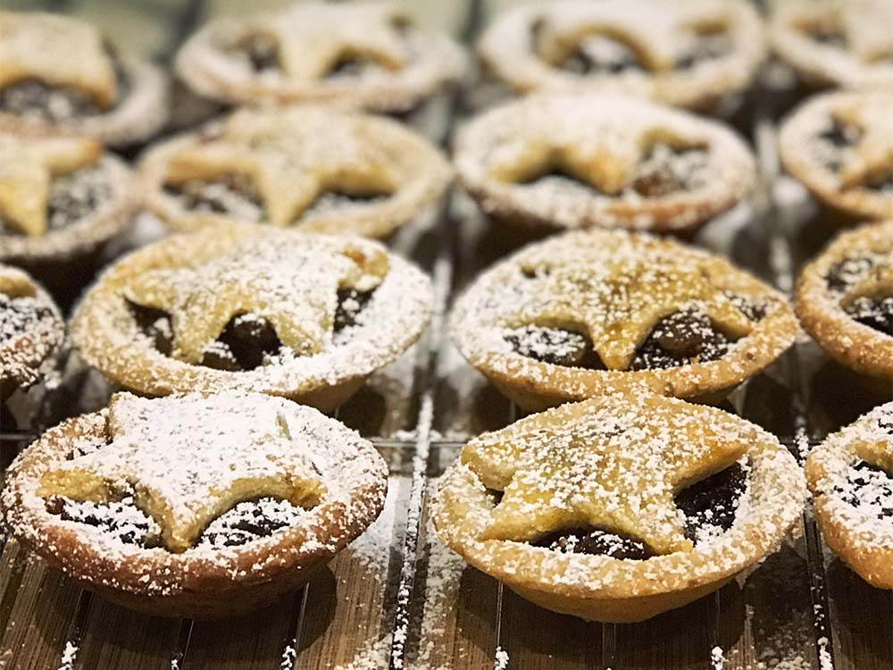 Homemade mince pies; we added almond meal and orange blossom to the pastry, and lots of Cognac to the fruit mince.