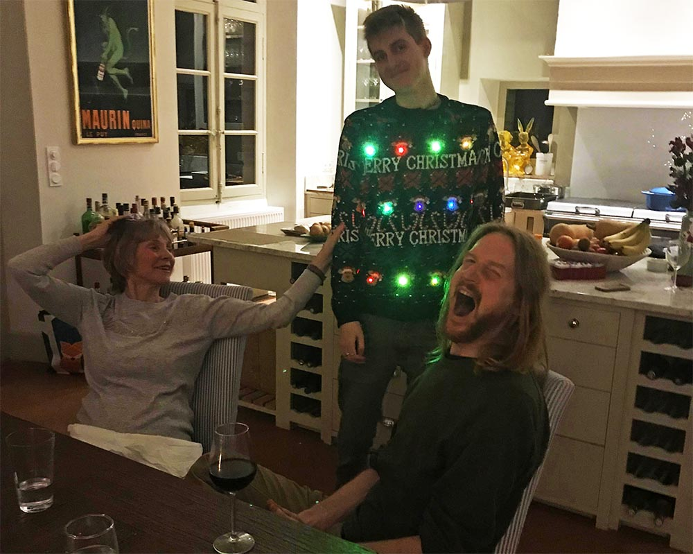Thomas wearing the best EVER Christmas sweater.