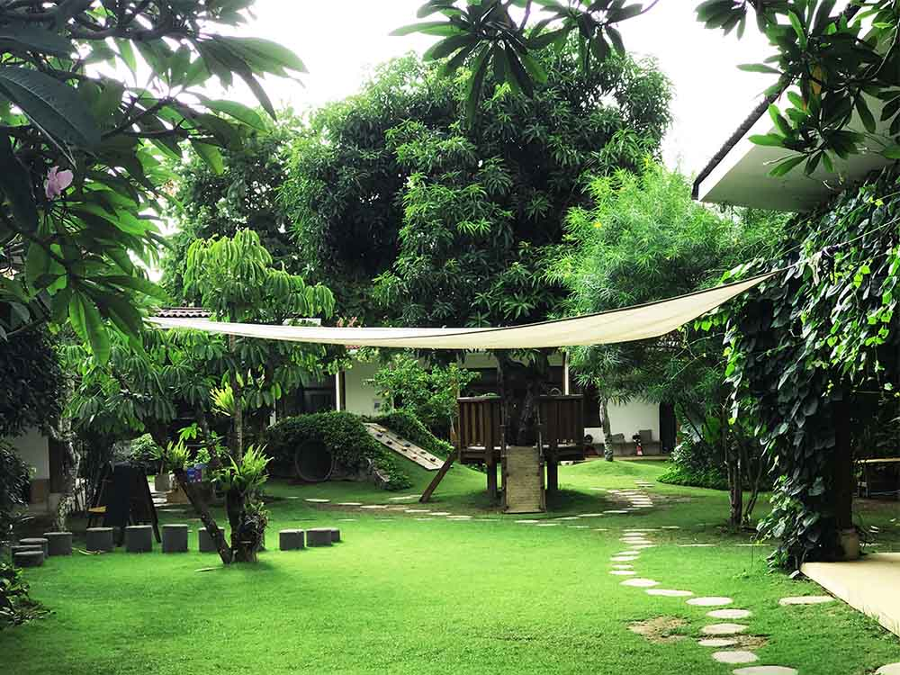 The lush tropical garden at Rosie's new school in Bali.