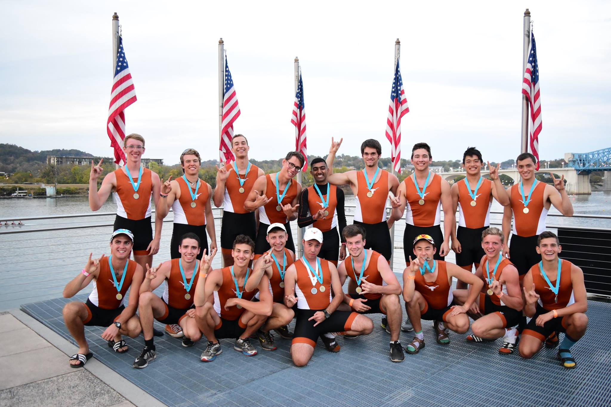 In a successful culmination to the fall pre-season, Texas Crew won the Men's Collegiate 8+ and Men's Lightweight 8+ (both pictured) at the Head of the Hooch Regatta in Chattanooga, TN.